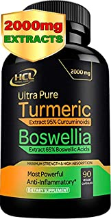 Turmeric Boswellia Extract Supplement – Strong Natural Pain Relief & Joint Support Pills 2000 mg – Extra Strength Anti-Inf...