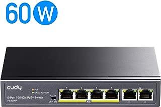 Cudy FS1006P 6ポート10 / 100M PoE ハブ、4 PoE/PoE +ポート(それぞれ最大32W電力)、CCTVモード(10Mbpsで最大250mの伝送距離)、VLAN分離、ファンレス、±4KVサージ保護、スチールケース、 合計60W PoE電力、PoE +スイッチ