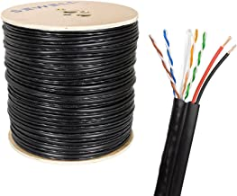 SolidRun by Sewell Cat5e +Power Siamese Cable, 4 Twisted Pairs + Power 1000 ft, cm, Black CCA
