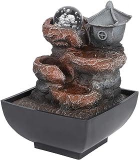 Fontaines à eau de table avec boule LED, fontaine de bureau à usage domestique décoration d'eau qui coule cour ornement fo...