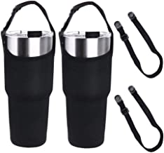 2 Pack Tumbler Carrier Holder Pouch for All 30oz Stainless Steel Travel Insulated Coffee Mug, Neoprene Sleeve Carrying Bag Handle with Shoulder Strap, Fit YETI Rambler Ozark Trail Rtic etc. (Black)
