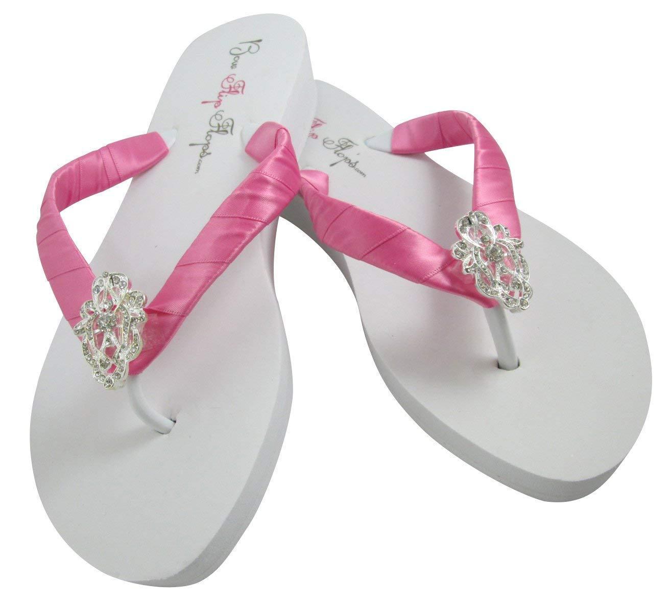 Rhinestone Embellishment Satin Flip Flops and White Pink Bombing Limited price free shipping Hot Iv