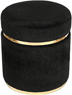 Adeco Small Round Ottoman, Upholstered with Gold Plating Metal Base, Footstool Rest Extra Seat, Small Living Room Ottomans & Footrest (Black)