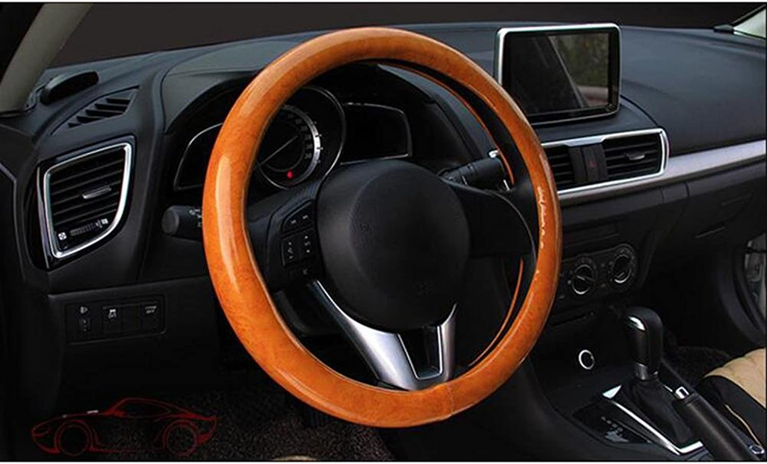 Auto Accessories 2018 Car Steering Wheel Cover Carbon Fiber Mahogany Fashion Sets of Four Seasons Universal Steering Wheel Cover Breathable, J, 38CM
