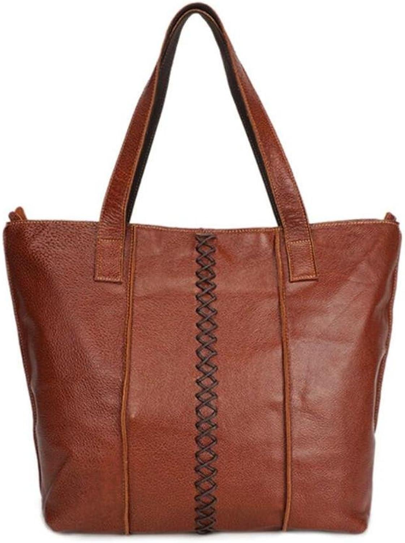 Hubaotai Lederhandtasche Große Kapazität Schultertasche Mode