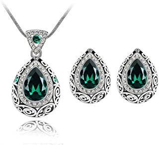 Fashion Waterdrop Crystal Jewelry Set, Retro Vintage Celtic Knot Waterdrop Green Gemstone Water Drop Pendant Necklace Stud Earrings Jewelry Set for Women Mother Bridal Wedding