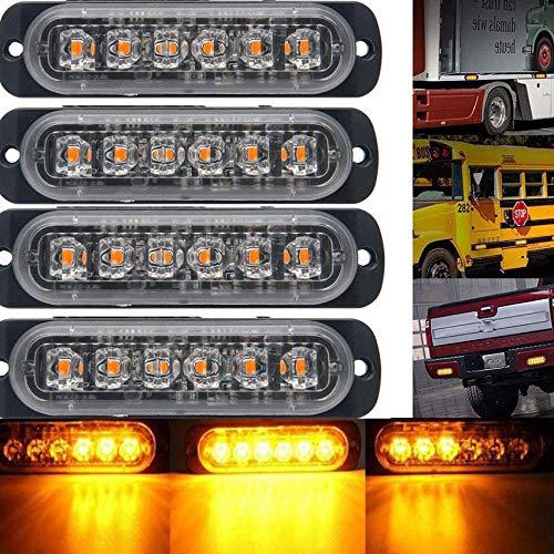 FUGEN 4X 6 LED 12V 24V Auto Blinker Bar Bernsteinfarbener Auto-LKW blinkt Notlicht-Wiederherstellungsblitz mit Hauptsteuerkasten