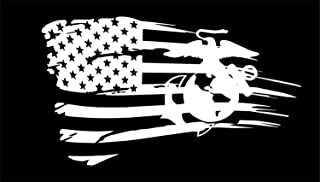 Distressed Flag Marine Corps Oorah Semper Fi Jeep JL JKU JK Window Decal Sticker (6