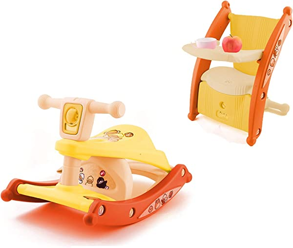 3 In 1 Multifunction Toddler Portable Rocking Horse Baby Dining Table Chair Dual Use Light Music Child Kids Yellow