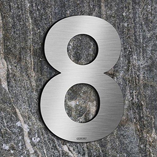 qoboob® Edelstahl Hausnummern 8 Acht Straße Nummer Fein gebürstet Silber 200mm (1 Stück)