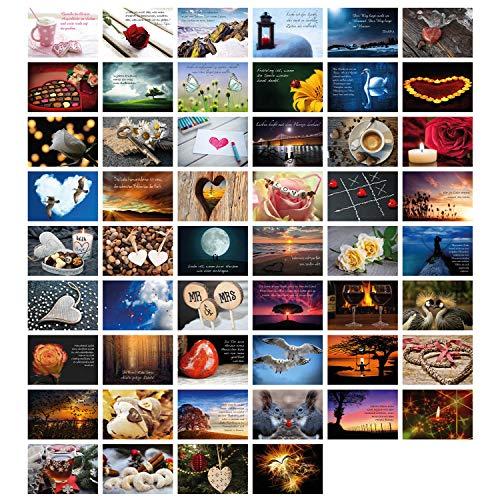 Clever Pool Hochzeitspostkarten - 52 Stück in einem Set - Postkartenspiel - romantische Postkarten mit besonderen Motiven und Sprüchen - perfekte Überraschung für Verliebte - hochwertig und edel
