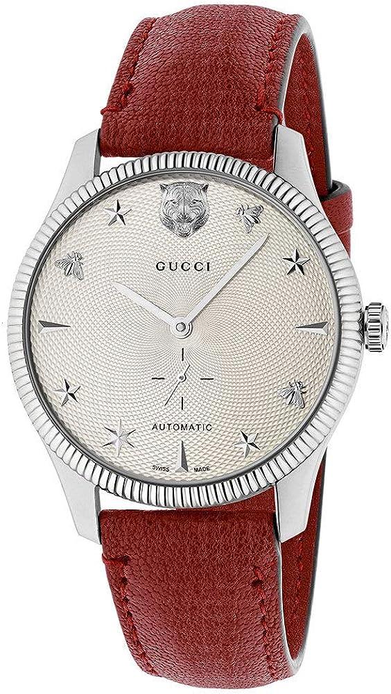 Gucci g-timeless, orologio automatico per uomo, cassa in acciaio argentato e cinturino in vera pelle YA126346