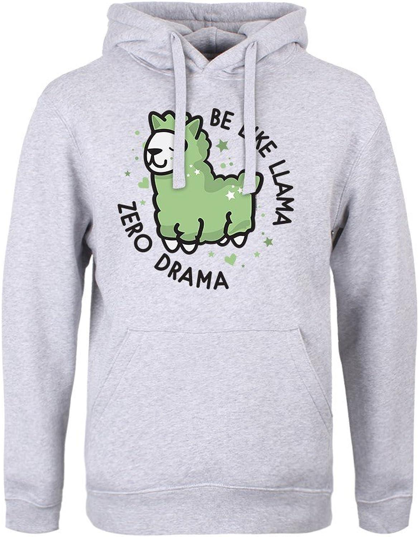 Real Slick Tees Men's Be Like Llama Zero Drama Hoodie Grey