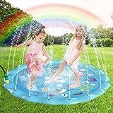 Gifort Splash Pad, Aspersor de Juego para Actividades al Aire Libre, Juguetes Inflables de Agua para Bebés, Niños Pequeños y Niños (Wathet Blue)