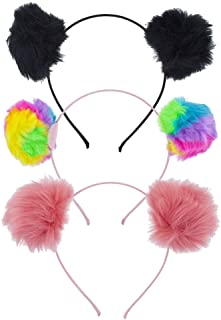 Lux Accessories Halloween Girls Fuzzy Pom Pom Ball Cat Ear Headband Set (3pc)