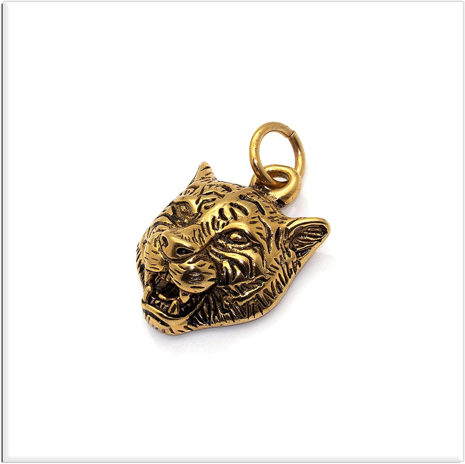 Xusamss Punk Rock Stainless Steel Animal Tiger Head Tag Pendant Charm Necklace