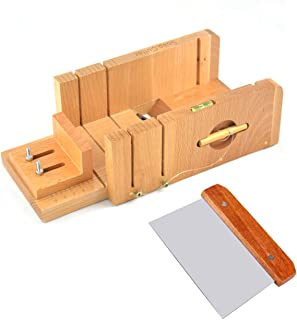 Ogrmar Multi-Function Practical Adjustable Bamboo Soap Cutter Soap Making Tools with Soap Beveler/Planer Set (Brown)