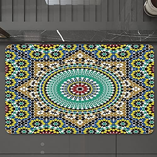 Alfombrilla de Baño Antideslizantes de 50X80 cm,Decoración marroquí, esmalte arquitectónico,, Tapete para el Piso Lavable a Máquina con Microfibras Suaves Absorbentes de Agua para Bañera, Ducha y Baño