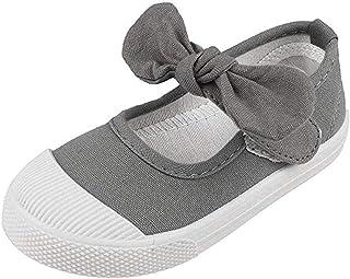 Babelvit Girl's Canvas School Uniform Dress Bowknot Mary Jane Flat Sneakers Shoes(Toddler/Little Kid)