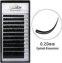 LASHVIEW 0.20 Thickness Silk Mink D Curl Fake Eyelash Extensions Mixed Tray 8-15mm Natural Thick Lashes Individual Semi-Permanent Eyelashes Application for Professional Salon Use