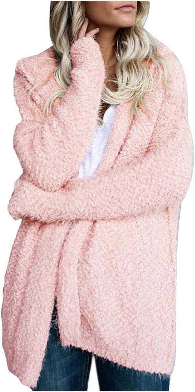 ManxiVoo Women's Warm Winter Hooded Fuzzy Fleece Jacket Long Sleeve Plus Size Solid Long Coat Outercoat