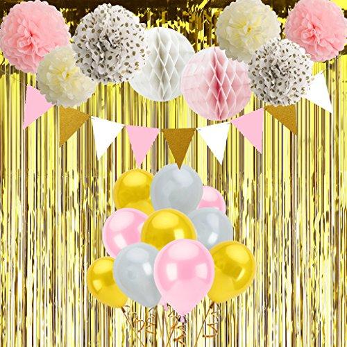 Gustawarm Rosa y Oro Decoraciones del Partido para Las niñas con Globos Pompones de Papel de Seda Honeycomb Balls Fringe Cortina 38pcs