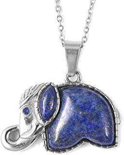 """Shop LC Delivering Joy Elephant Chain Pendant Necklace for Women (32""""/20"""") Stainless Steel Silvertone (Abalone Shell/Lapis Lazuli/Cats Eye)"""