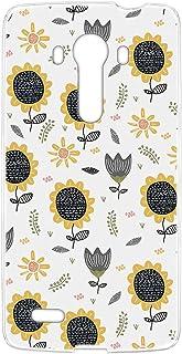 スマホケース ハードケース LG isai vivid LGV32 用 [ひまわり・ホワイト] 北欧柄 花柄 向日葵 エルジー イサイ ビビッド au スマホカバー 携帯ケース 携帯カバー sunflower_00r_h208@01
