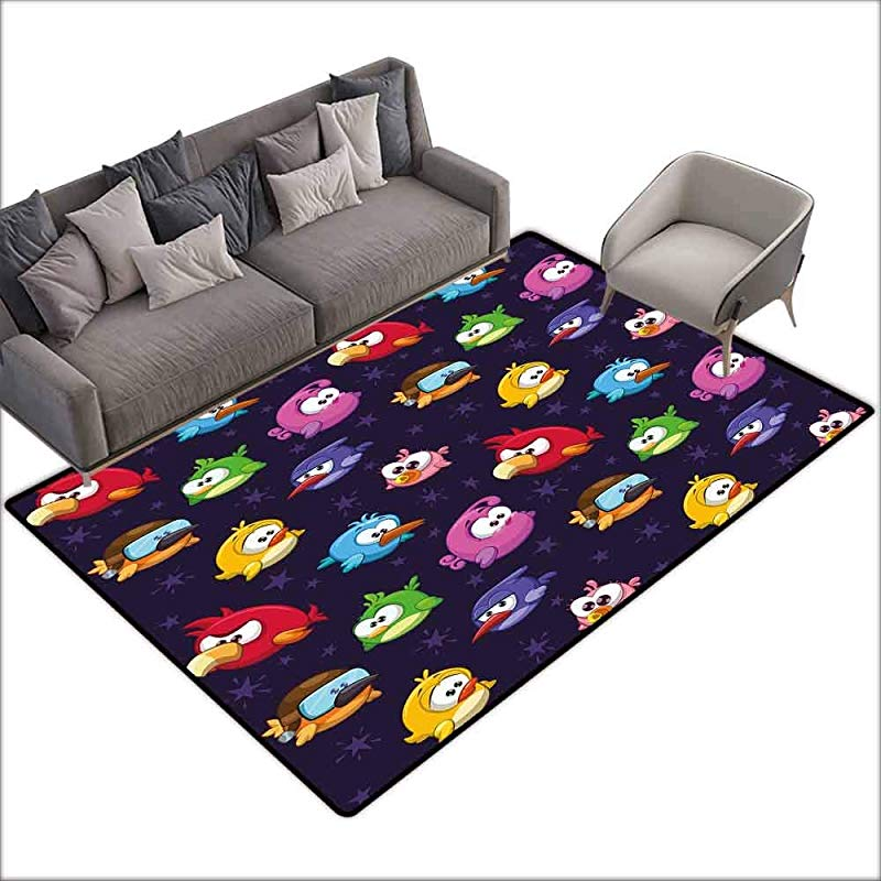 Office Chair Floor Mat Foot Pad Funny Angry Flying Birds Figure With Various Expressions Game Toy Kids Babyish Artsy Image Multicolor 36 X 60 Throw Rugs