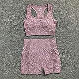 Ollt Vital Women Sport Suit Yoga Set Gym Workout Clothes Manga Larga Fitness Crop Top + High Waist Energy Leggings sin Costuras 2pcs / Set L Wine Red Set