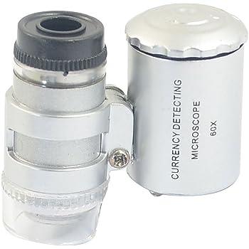 FDP Smallest 60X Microscope 2 LED Light Eye Lens Mini Magnifier Loupe with UV Light