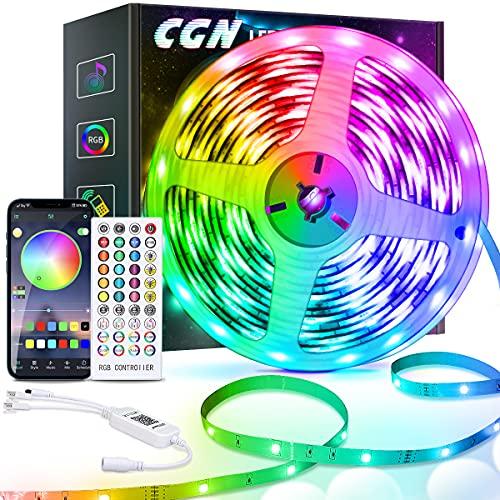 10M Tiras LED Bluetooth, CGN Tira de Luz LED RGB 5050 Multicolor, 16 Millones Colores 28 Estilos Sincronización de Música Control por Aplicación y Control Remoto, Luces Led Habitación Decoracion