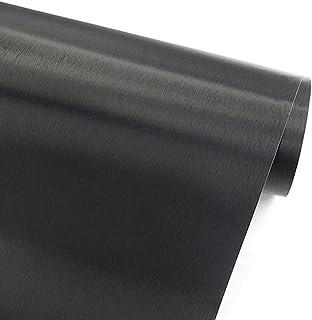 GLOW4U Self Adhesive Faux Black Brushed Metal Stainless Steel Vinyl Film Wall Paper Shelf Drawer Liner for Refrigerators D...