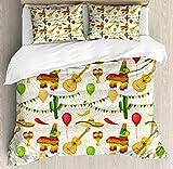 Juego de funda nórdica Cinco de Mayo, patrón de diseño de dibujos animados coloridos de elementos populares mexicanos en estampado de rayas, juego de cama decorativo de 3 piezas con 2 fundas de almoha