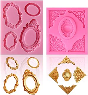 SAKOLLA Vintage Frame Silicone Molds - Baroque Style Picture Frame Molds for Fondant, Cake Decorating,Cupcake Topper, Polymer Clay