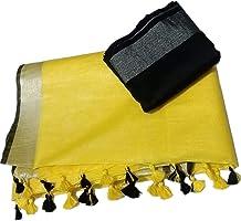 mj silks Women's Bhagalpuri Linen Slub Saree with Contrast Blouse Piece, Mustard Yellow