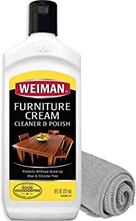 Weiman Furniture Polish and Cleaner (8 Ounce with Microfiber Cloth) Furniture Cream with Lemon Oil Restore Luster and Prevent Sun Damage Without Dulling Buildup