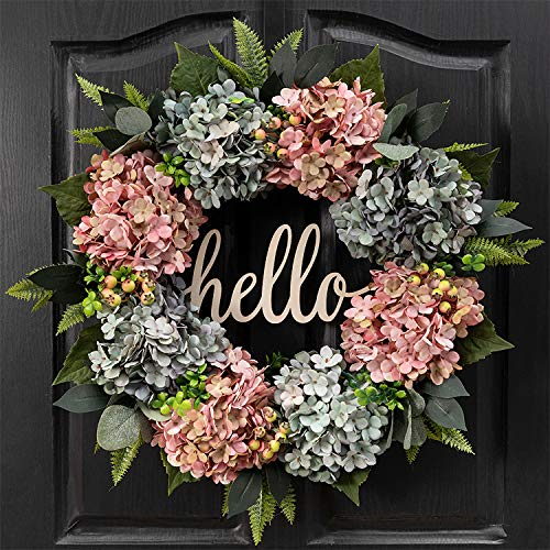 QUNWREATH Handmade Floral 19 inchPink Vintage Blue Gray Hydrangea Series Wreath,Free Hooks,Spring Front Door Rustic Wreath, Party Wreath,Grapevine Wreath,HousewarmingWreath,Everyday Wreath,