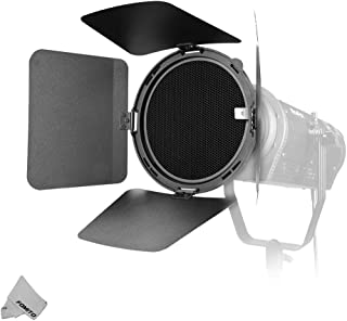 NiceFoto Fresnel Lens Fresnel Mount with Honeycomb Grids Barn Doors for Bowens Mount LED Video Light for Aputure Light Storm 300D II 120D II Mark 2 COB 120T 120D 120D ii LS C120 Series, HA-3300B