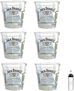 "Jack Daniel""s h2i 6 Stück < Original Whisky Becher Glas Tumbler 2cl / 4cl > > neues Model < <"