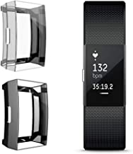 Coobes[2 Pack] Compatible with Fitbit Charge 2 Screen Protector, Soft TPU Full Cover Case Bumper Ultra-Thin Lightweight Shell Compatible Fitbit Charge 2 Smart Watch (Black+Clear)