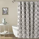 "Lush Decor Ruffle Diamond Shower Curtain | Textured Shabby Chic Farmhouse Style Design, x 72"", Gray, 72"