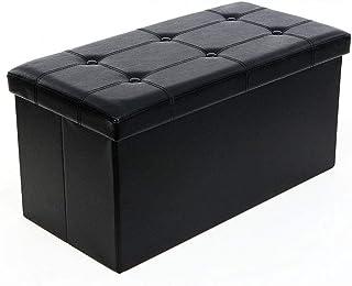 GEIFD IGE Practical PVC Leather Folding Storage Box Storage Bench Versatile Space-Saving,Rectangle Shape Folding Storage B...