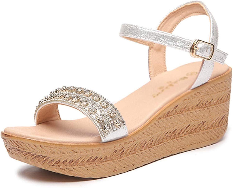 Frauen High Heel Keil Keil Sandalen Plattform Segeltuchschuhe Strandmode Sandalen Verstellbarer Gürtel Mit Keilen Komfortable Sandalen (Farbe   Gold, Größe   35 US5)  Herrlich