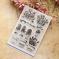 花と鉢透明なクリアシリコンスタンプ/DIYスクラップブッキング用シール/フォトアルバム装飾的なクリアスタンプ198