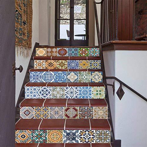 FLFK Autoadesivo 3D in Ceramica Piastrelle Adesivi Sticker murale Vinyl Stair Riser Sfondo Decalcomania per Bagno e Cucina Backsplash Decorazione 39,3 Pollici x7,08 Pollici x 6pezzi (GXL007)