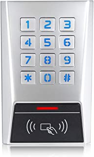 RFID Access Control Stand-Alone Keypad for Single Door Longwo BK2-EH Metal Housing Waterproof Outdoor and Indoor Wiegand Reader 26~37 Bits 1010 Users with a 10 Pack of Proximity Cards