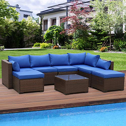 VALITA 6 Pieces PE Wicker Patio Furniture Sets Low Back Outdoor Sectional Sofa Brown Rattan Coversation Sofa Loveseat with Royal Blue Cushion and Tea Table