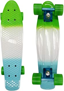 WXQX 22Inch Skateboards for Beginners, Complete Double Deck Mini Retro Cruiser Skateboards for Beginners Adult Teens Kids Boys and Girls for Sports and Outdoors 22x6x4.7''