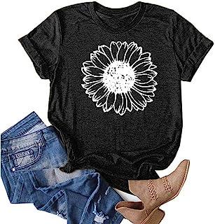 قمصان صيفية للنساء، تيشيرت صيفي كلاسيكي بأكمام قصيرة ورقبة مستديرة ودوار الشمس صيفي